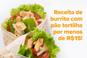 Na imagem é possível ver dois burritos feitos com uma massa clara e recheados com frango, tomate e alface.