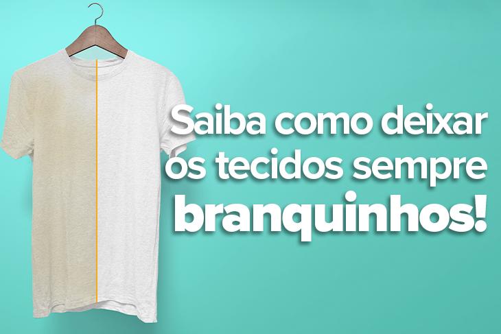 A imagem possui um fundo azul e nela está uma camiseta que do lado esquerdo está encardida e, do lado direito, limpa e branquinha.
