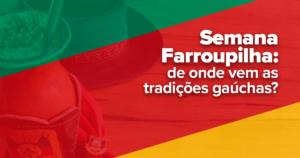 : A imagem é dividida em verde, vermelho e amarelo, as cores da bandeira do Rio Grande do Sul. Ao fundo é possível ver uma cuia de chimarrão, um chapéu preto e um lenço com o brasão do Estado.